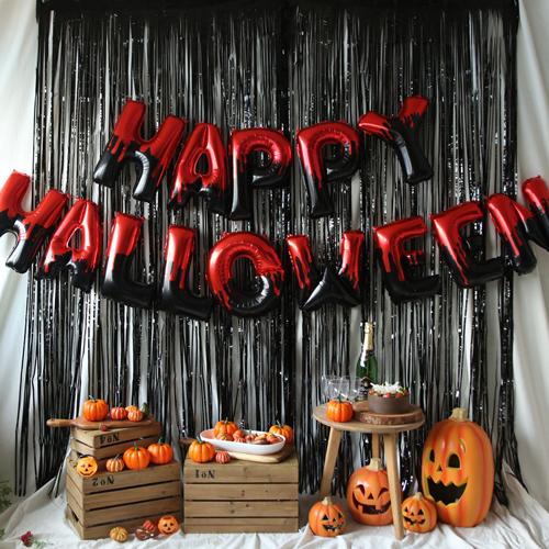 HAPPY HALLOWEEN 은박풍선 커튼 세트, 레드, 1세트
