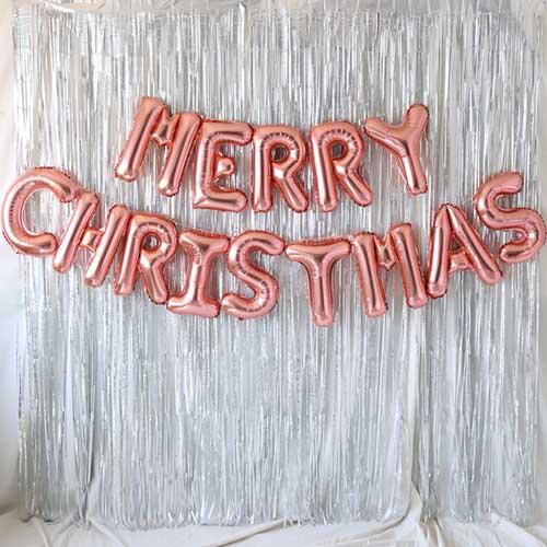 MERRY CHRISTMAS 은박풍선 커튼 세트, 로즈골드, 1세트