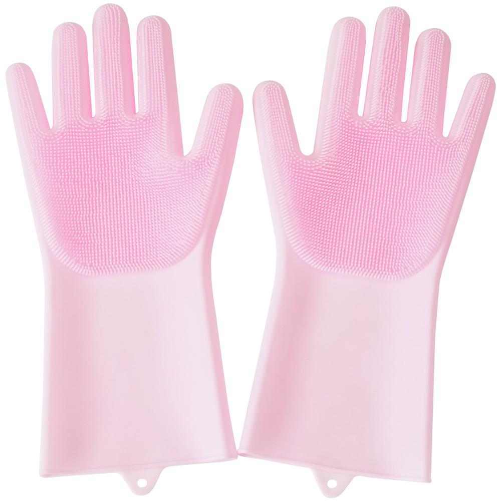 실리콘 수세미 장갑 핑크, 2개입, 1세트
