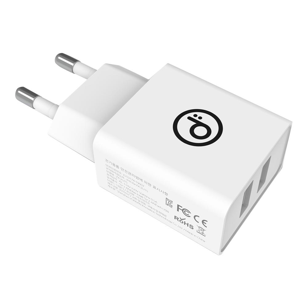 더블디 애플전용 12W 듀얼 초고속 충전기, 혼합색상, 1개