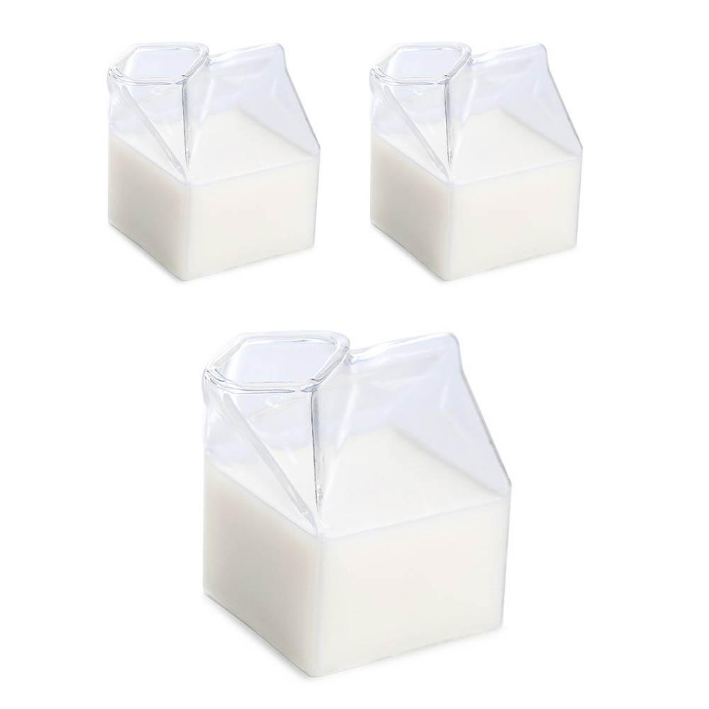 러블리 우유팩 스타일 유리컵 250ml, 단일색상, 3개