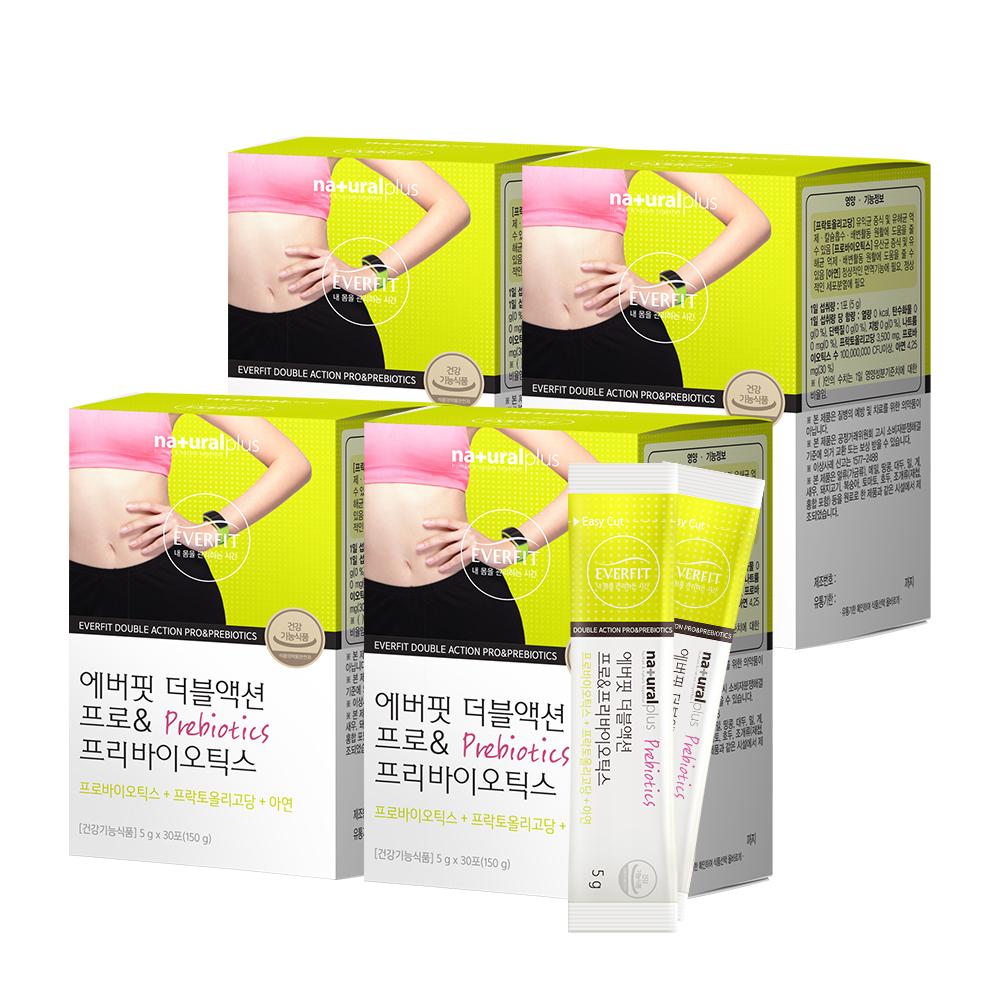 내츄럴플러스 에버핏 더블액션 프로 앤 프리바이오틱스, 150g, 4개