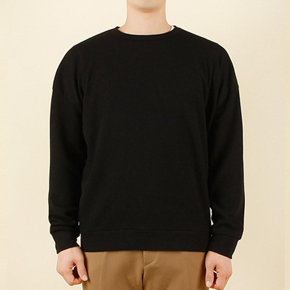 빌락트 남성 사계절 데일리 골지 맨투맨 무지 티셔츠