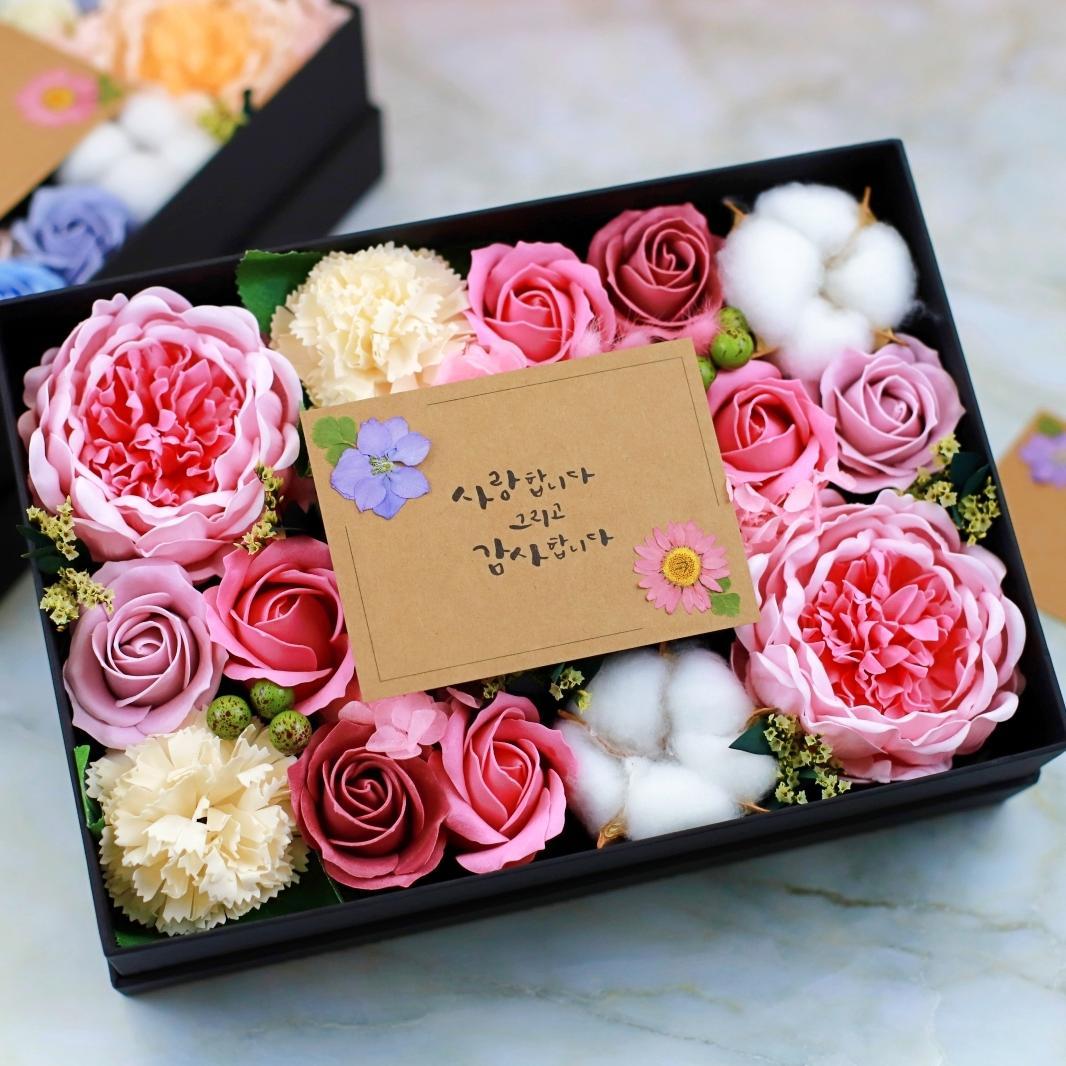로사리움 조화 반전 작약 카네이션 드라이 프리저브드 비누 현금선물 용돈박스, 핑크