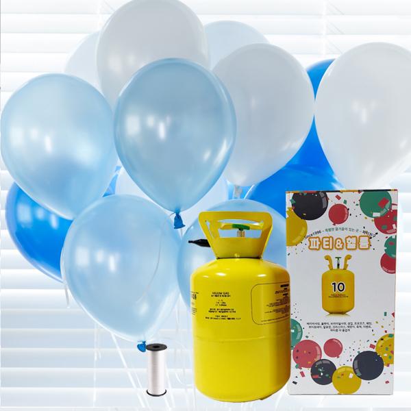 파티친구 10개용 블루 혼합 헬륨세트, 혼합색상, 1세트