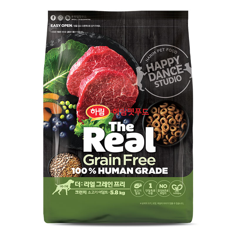 하림펫푸드 더리얼 그레인프리 크런치 어덜트 강아지사료, 소, 5.8kg