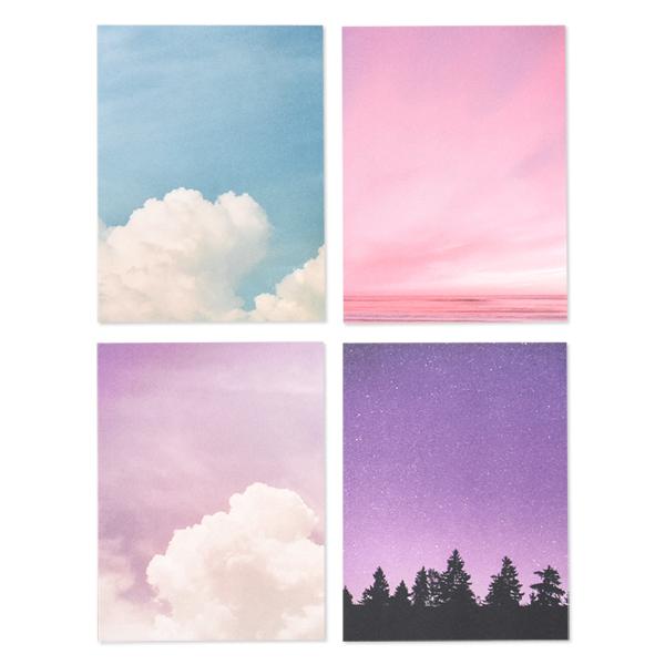 왈가닥스 필링 ver 2 메모지 4종 세트, 오늘 날씨맑음, 하늘 그리고 바다, 보랏빛 구름, 별이 빛나는 밤, 1세트