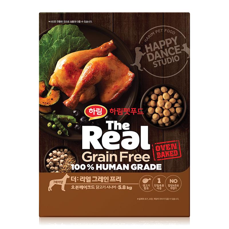 하림펫푸드 더리얼 그레인프리 오븐베이크드 시니어 강아지사료, 닭, 5.8kg