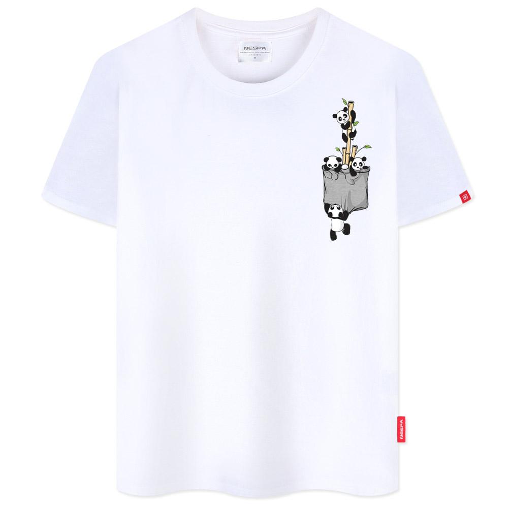 네스파 남녀공용 빅사이즈 팬더가족 반팔 티셔츠 SRA_0526
