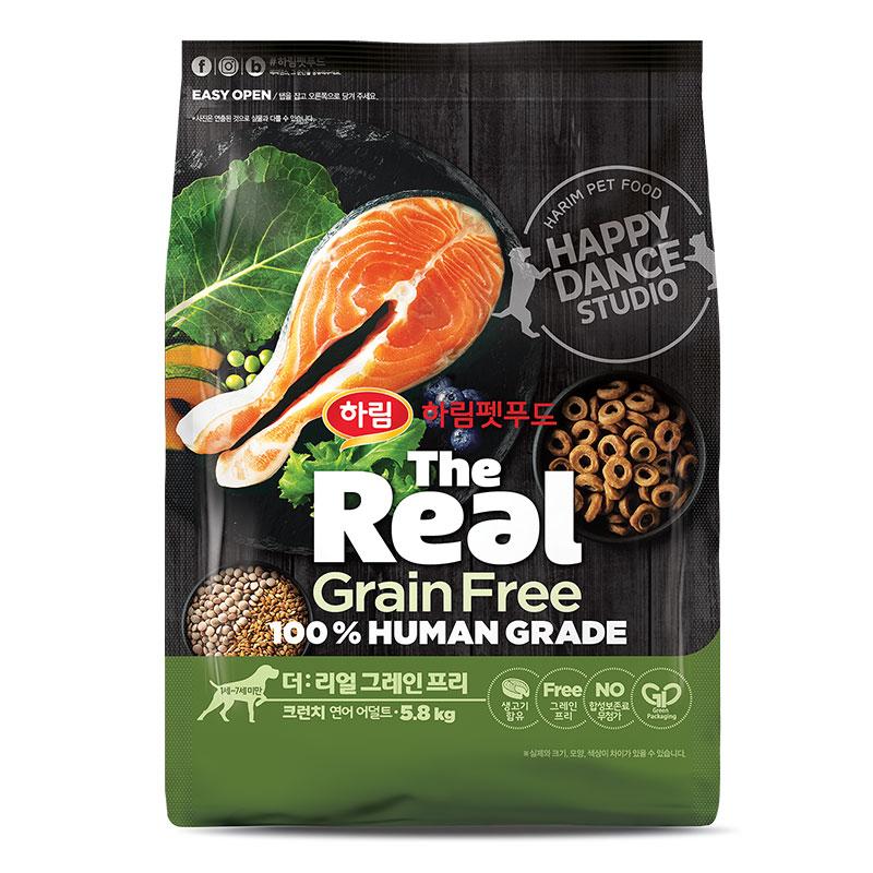 하림펫푸드 더리얼 그레인프리 크런치 어덜트 강아지사료, 연어, 5.8kg