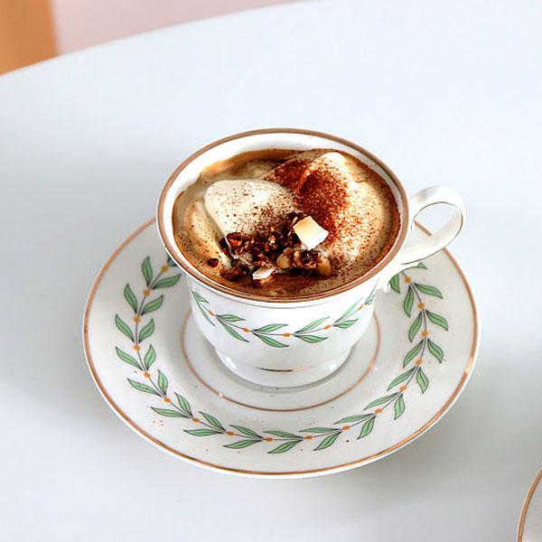 코지테이블 골드라인 나뭇잎 커피잔 세트, 그린, 1세트