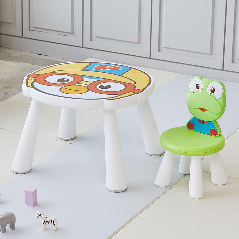 야야 뽀로로 테이블 + 크롱 체어, 혼합색상