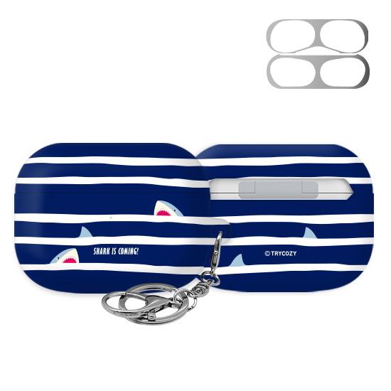 트라이코지 디자인 샤크 에어팟 프로 이어폰 키링 하드 케이스+철가루 방지 스티커, 단일상품, 05 블루스트라이프