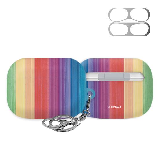 트라이코지 디자인 레인보우 3D곡면 에어팟 프로 이어폰 하드 케이스 + 철가루 방지 스티커, 단일상품, 02 002