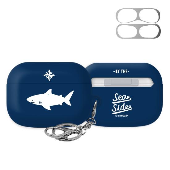 트라이코지 디자인 샤크 에어팟 프로 이어폰 키링 하드 케이스+철가루 방지 스티커, 단일상품, 04 블루