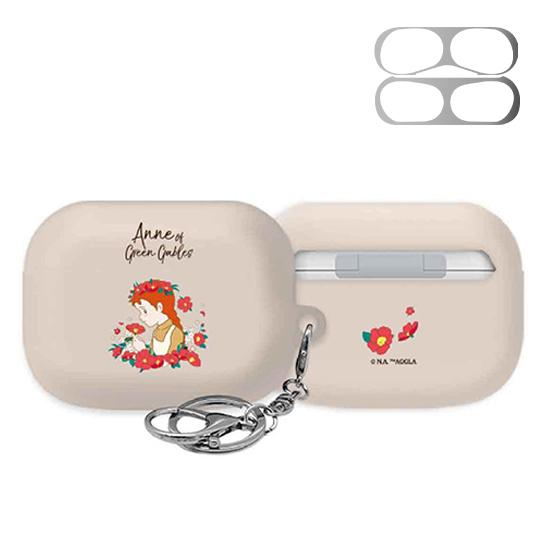 빨간머리앤 플라워앤 3D 곡면 에어팟 프로 이어폰 하드 케이스 + 철가루 방지 스티커, 04 앤의화환 피치