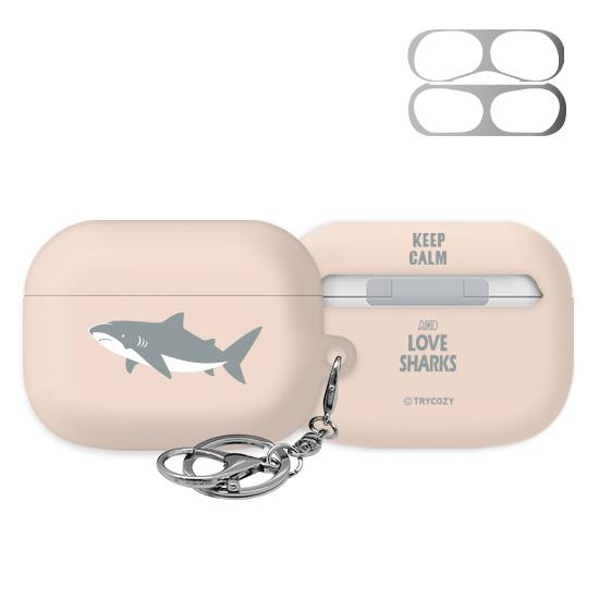 트라이코지 디자인 샤크 에어팟 프로 이어폰 키링 하드 케이스+철가루 방지 스티커, 단일상품, 01 핑크