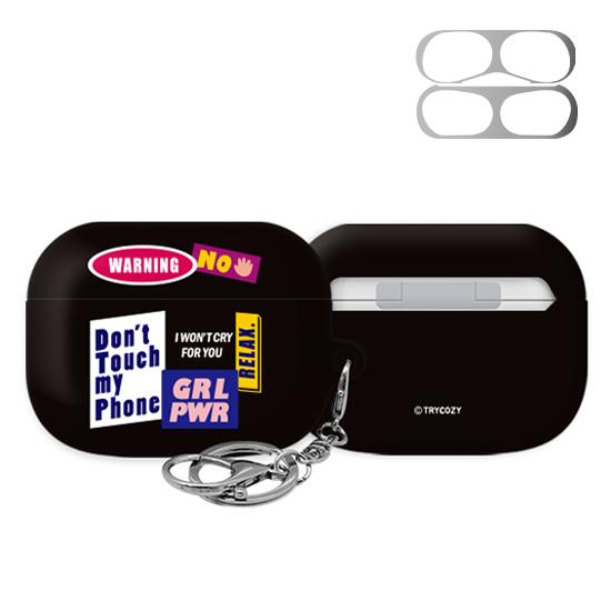 트라이코지 3D 곡면 디자인 패치 에어팟 프로 이어폰 키링 하드 케이스 + 철가루 방지 스티커, 단일상품, 01 001