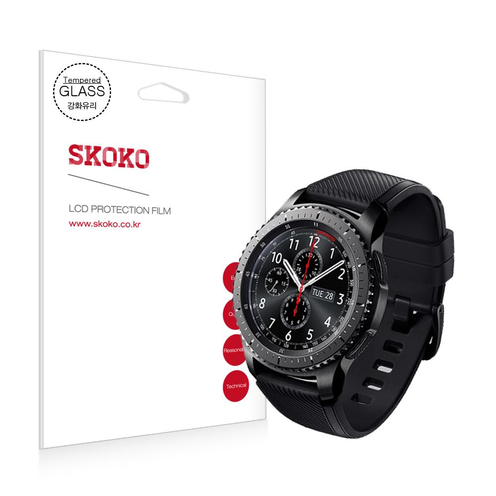 스코코 삼성 갤럭시 기어S3 프론티어 강화유리 액정보호필름, 단일색상, 1세트