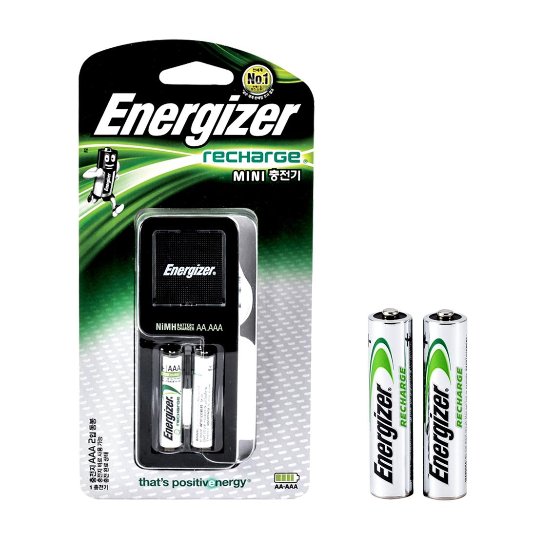 에너자이저 미니 충전기 CH2PC4 + 충전지 AAA 2p 세트, 1세트
