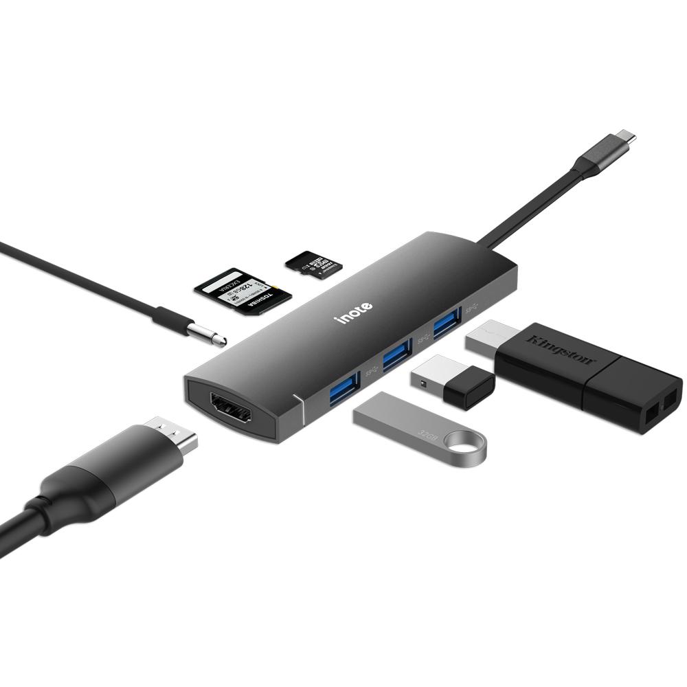 아이노트 USB C타입 멀티 허브 FS-CH41P, 혼합색상
