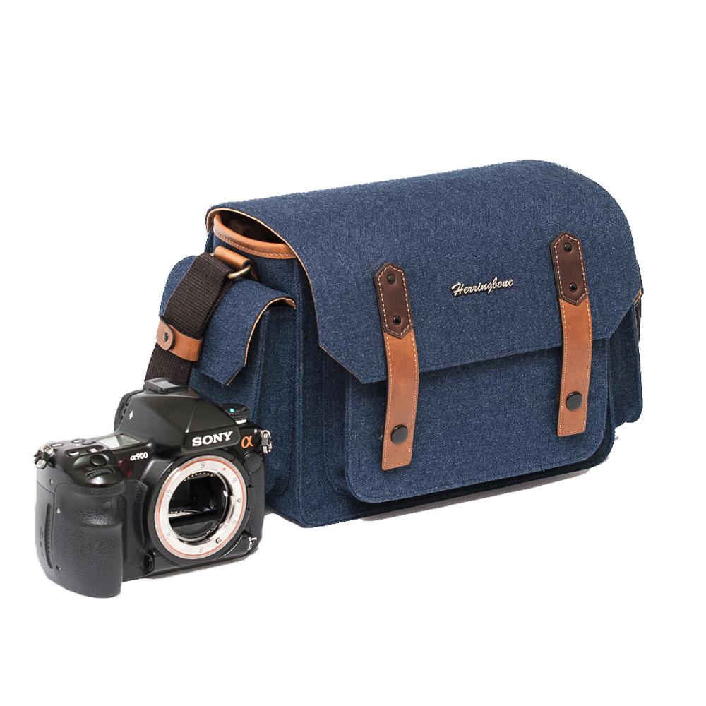 헤링본 파파스 포켓 V3 카메라 가방 미디엄, 네이비