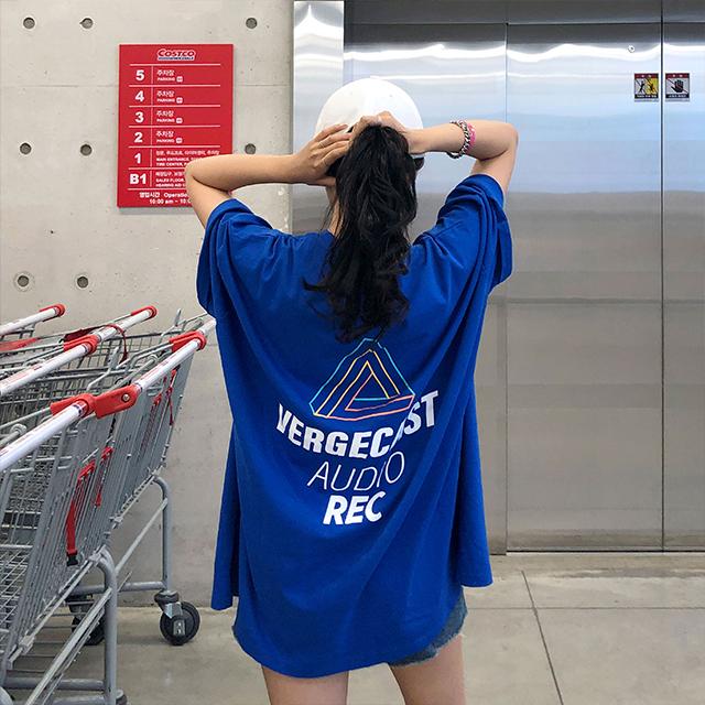 매드시스터 여성용 레코드 오버핏 반팔 롱 티셔츠