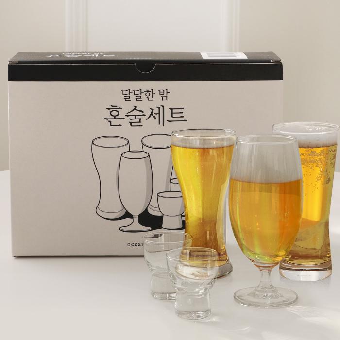 오션글라스 달달한 밤 혼술 맥주잔 5p 세트, 1세트