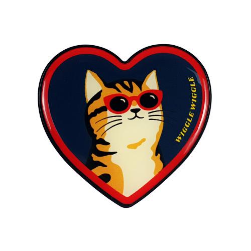 위글위글 하트 그립톡 휴대폰 거치대, Cat, 1개