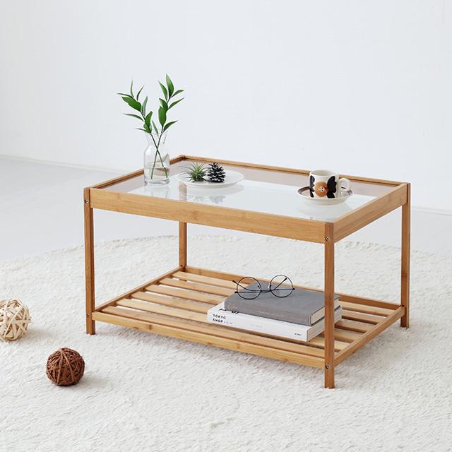 마켓비 GLABO 커피 대나무 테이블 6040, 내추럴