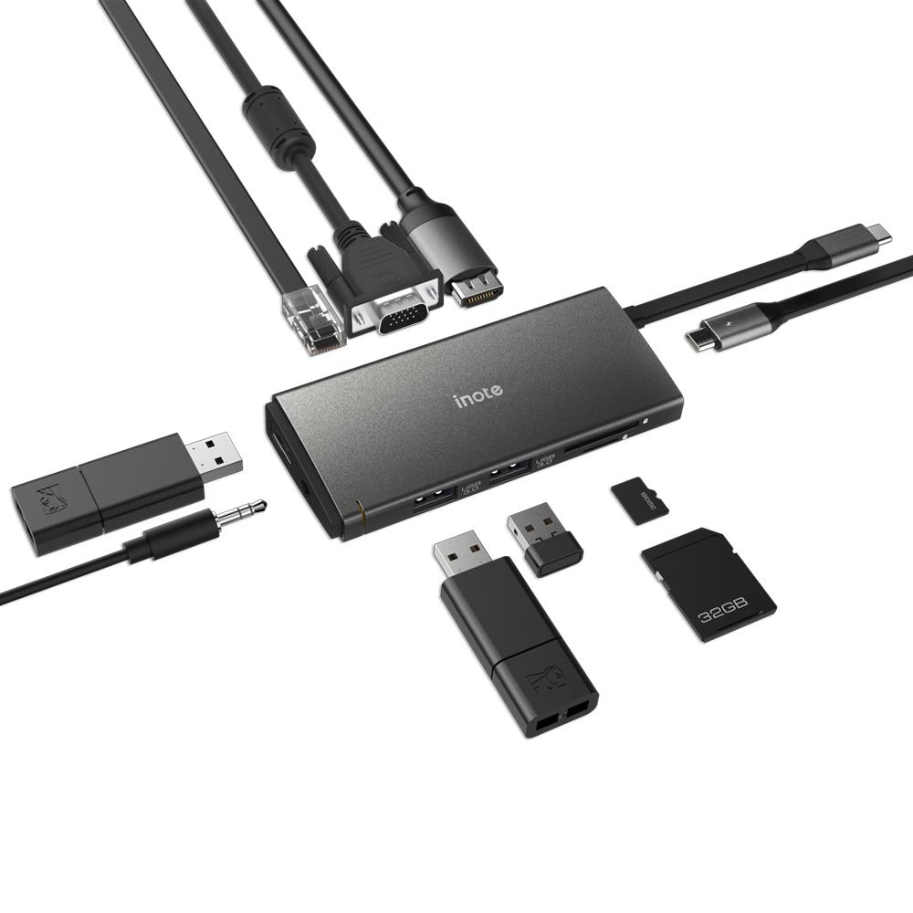 아이노트 USB C타입 멀티포트 허브 FS-CH55P, 혼합색상