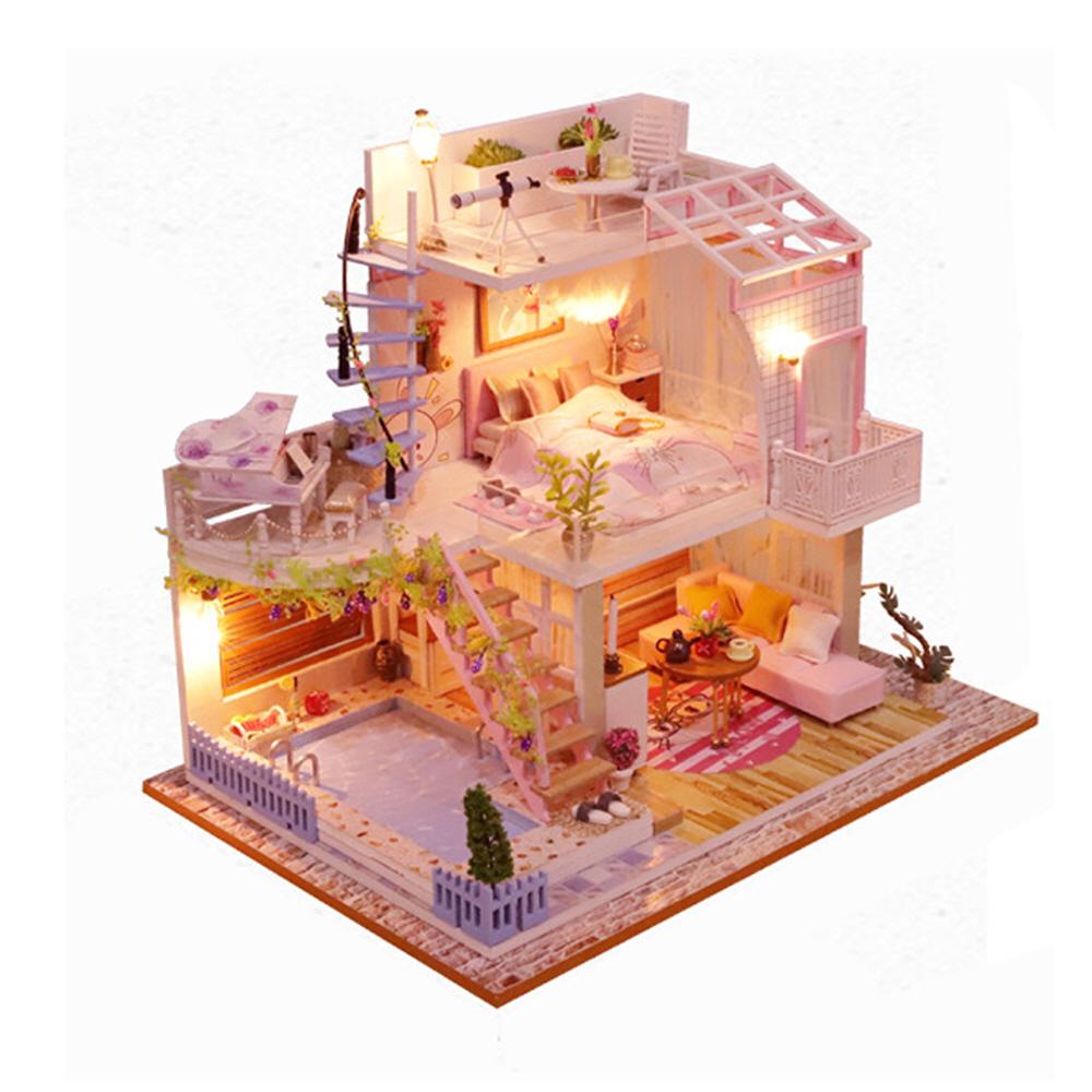 미니어처 하우스 스위트 핑크 로프트 DIY 키트, 혼합색상