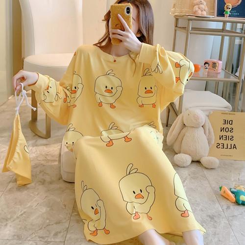 세컨핑크 여성용 오버핏 오리야 놀자 파우치 + 긴팔 원피스 잠옷 셋트 2020