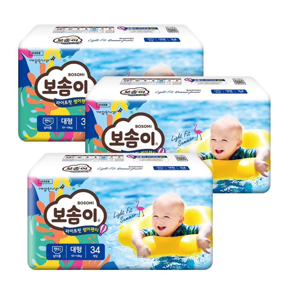 보솜이 라이트핏 썸머 팬티형 기저귀 남아용 대형(10~14kg), 102매