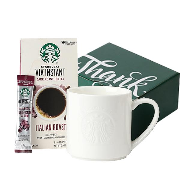 스타벅스 머그 355ml + 비아 인스턴트 이탈리안로스트 커피 26.4g + 선물포장박스 세트, 머그(화이트), 1세트