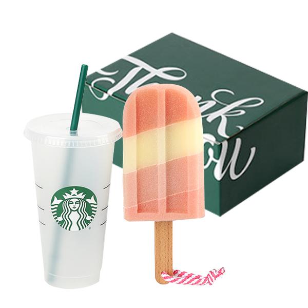 스타벅스 리유저블 콜드컵 709ml + 스펀지 브러쉬 + 선물포장박스 세트, 혼합색상