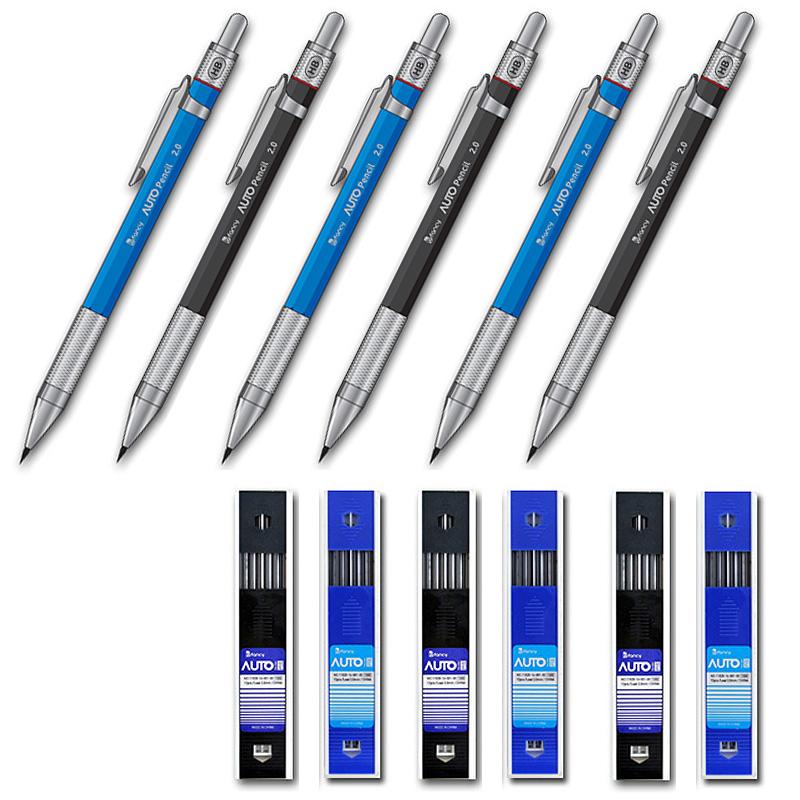[드로잉 홀더] 비팬시 노크식 오토 홀더 샤프 블랙 3p + 블루 3p + 심 블랙 3p + 블루 3p 세트, 2mm, 1세트 - 랭킹5위 (13860원)