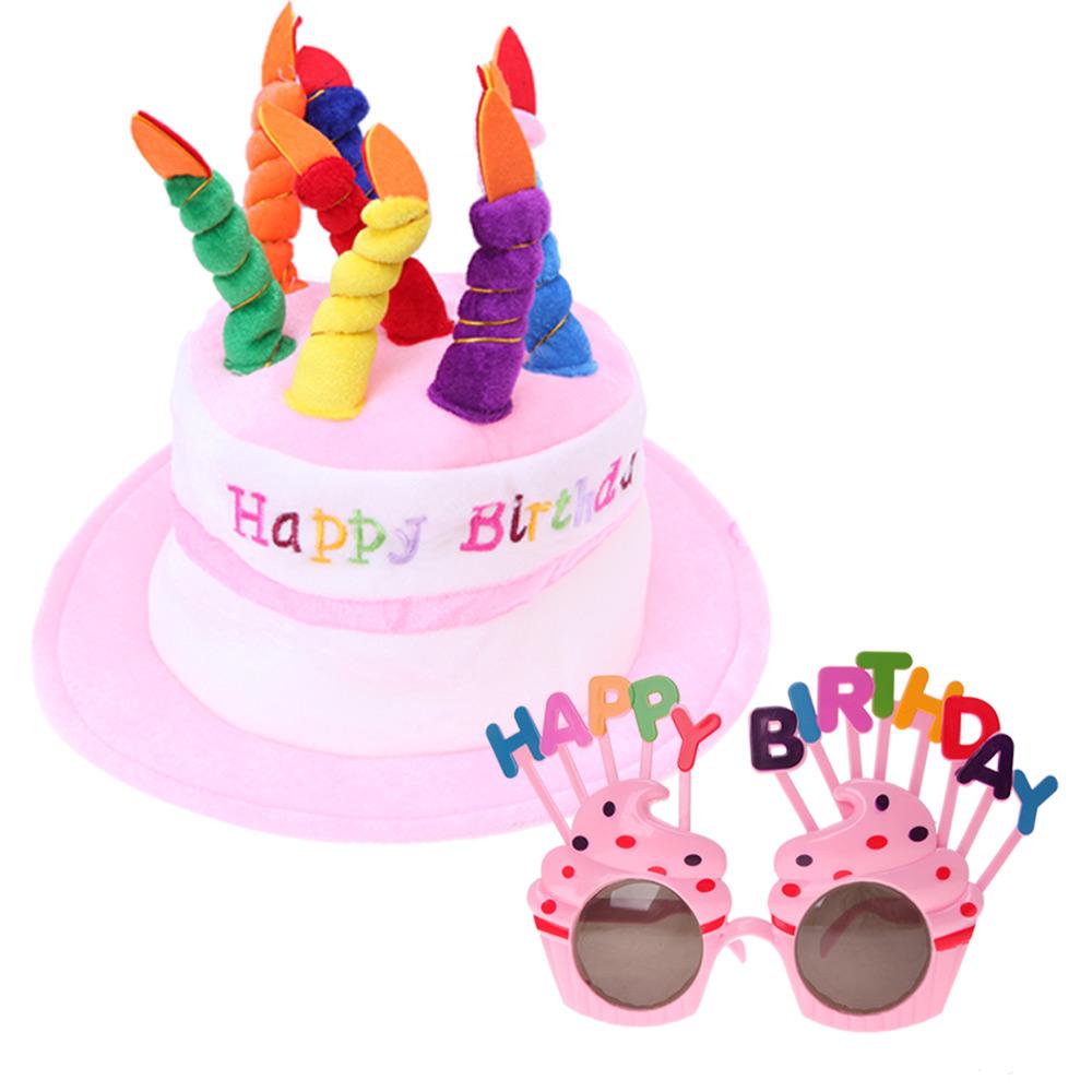 케익 모자 + 생일 머핀 안경 세트, 핑크,핑크, 1세트
