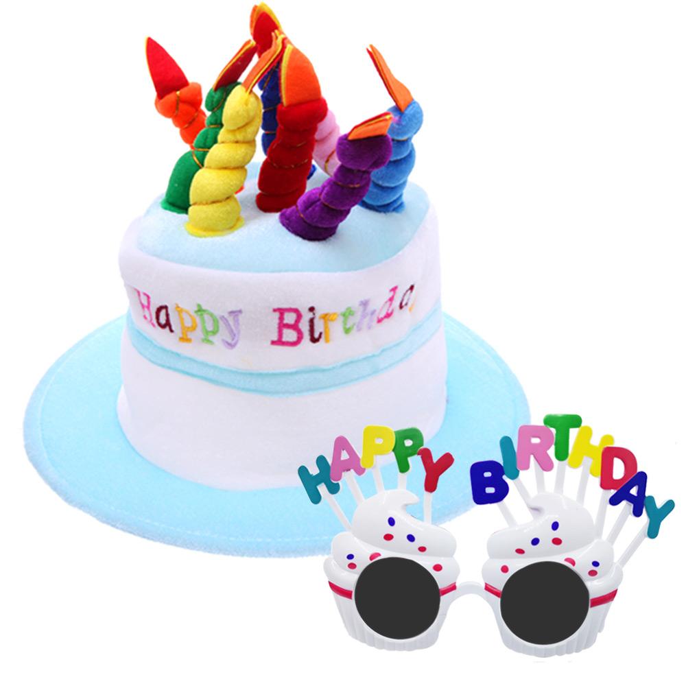 케익 모자 + 생일 머핀 안경 세트, 하늘,화이트, 1세트