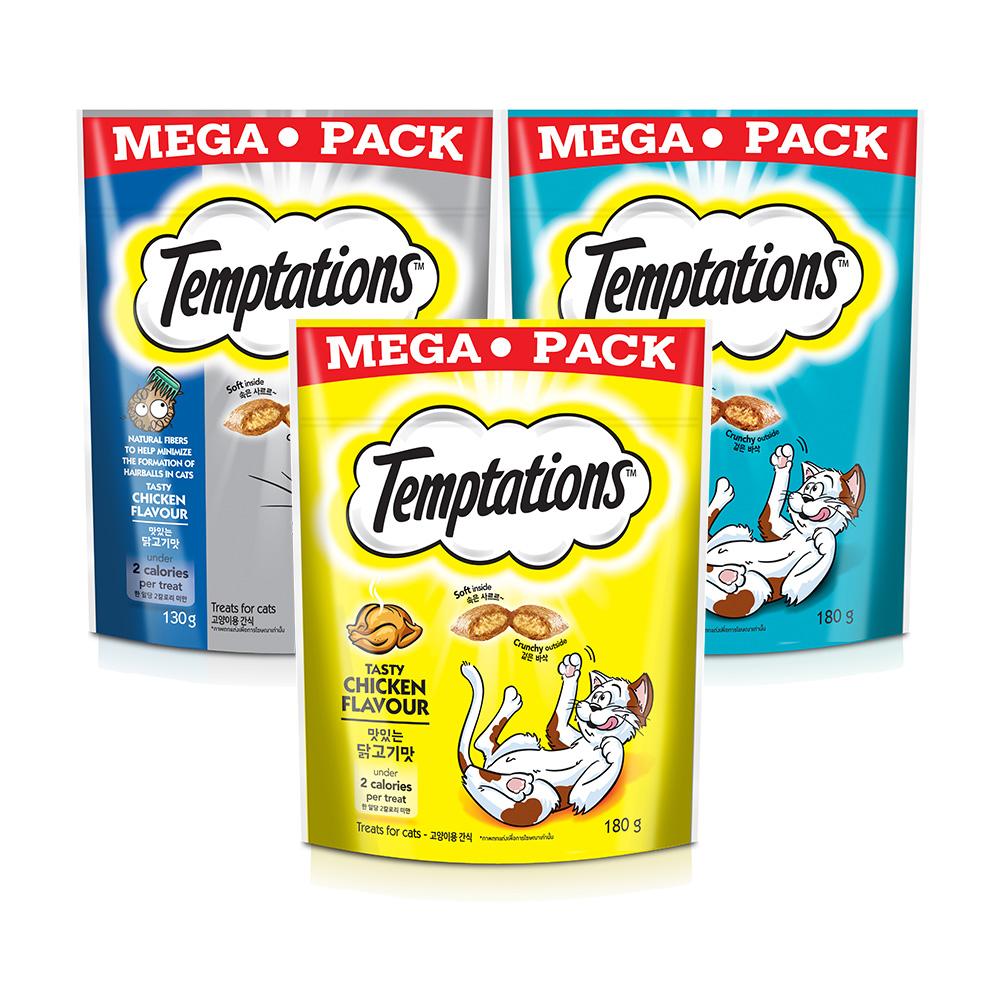 템테이션 메가팩 고양이 간식 3종 세트, 맛있는 닭고기맛, 고소한 참치맛, 헤어볼 컨트롤, 1세트
