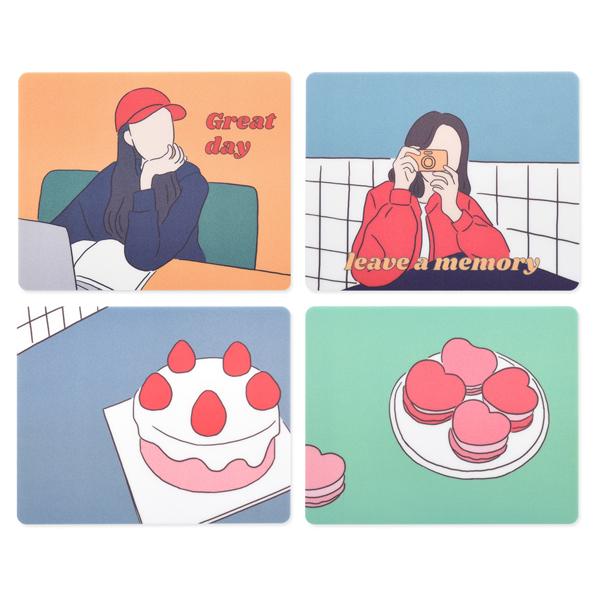 모노라이크 뉴트로 마우스패드 4종 세트, Great day, Leave a memory, Strawberry cake, Macaron, 1세트