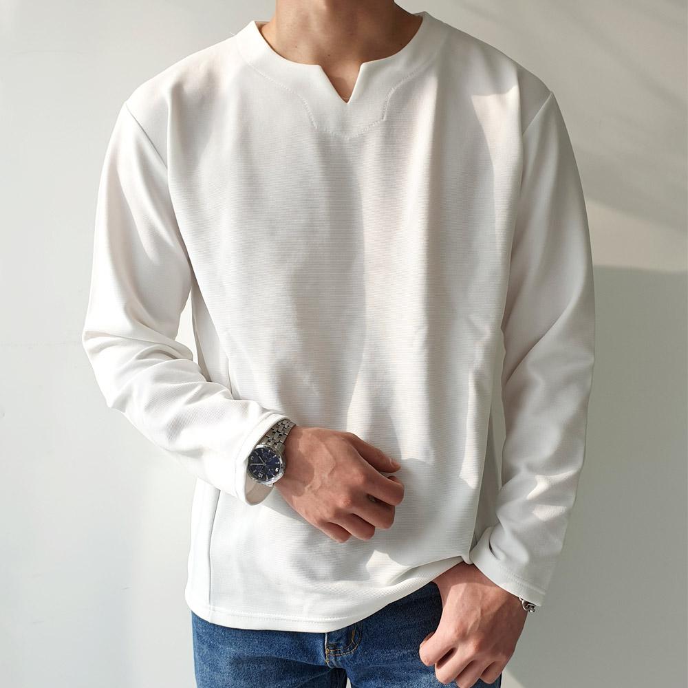 제이에이치스타일 남성용 브이 트임 모던 긴팔 티셔츠