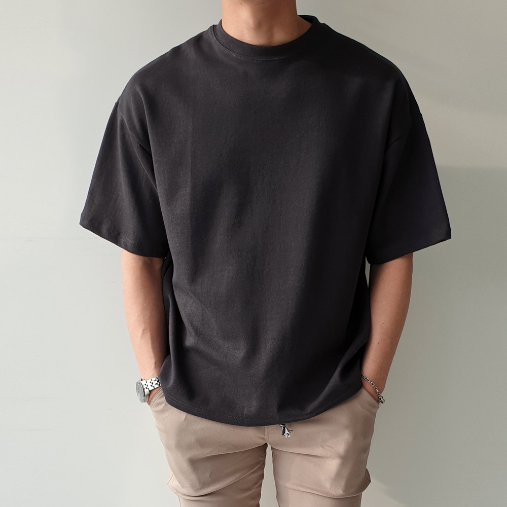 제이에이치스타일 남성용 오버핏 무지 반팔 티셔츠