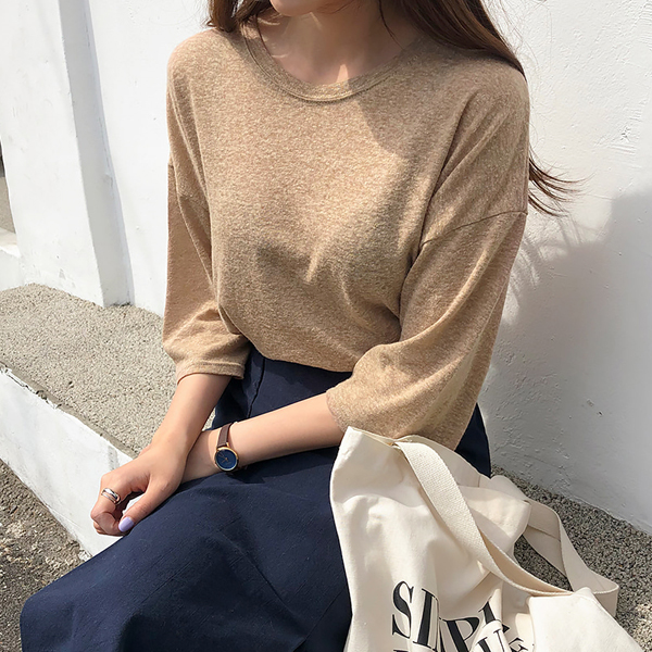 엔비룩 여성용 린넨 5부 소매 티셔츠