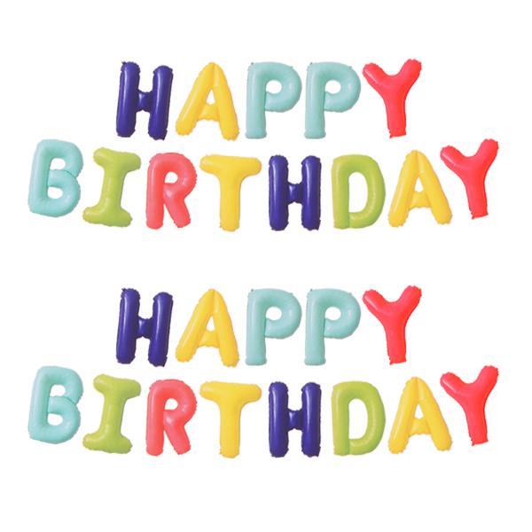 생일 메세지 은박 풍선 세트, 무지개, 2세트