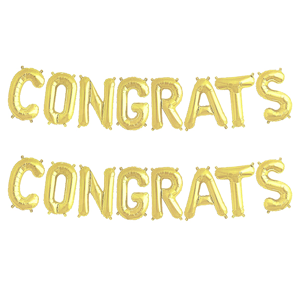축하 메세지 은박 풍선 세트, 골드, 2세트
