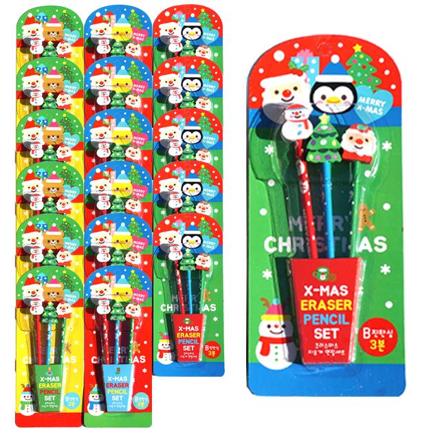 크리스마스 지우개 3종 + 연필 3종 세트 1000, 혼합색상, 18세트