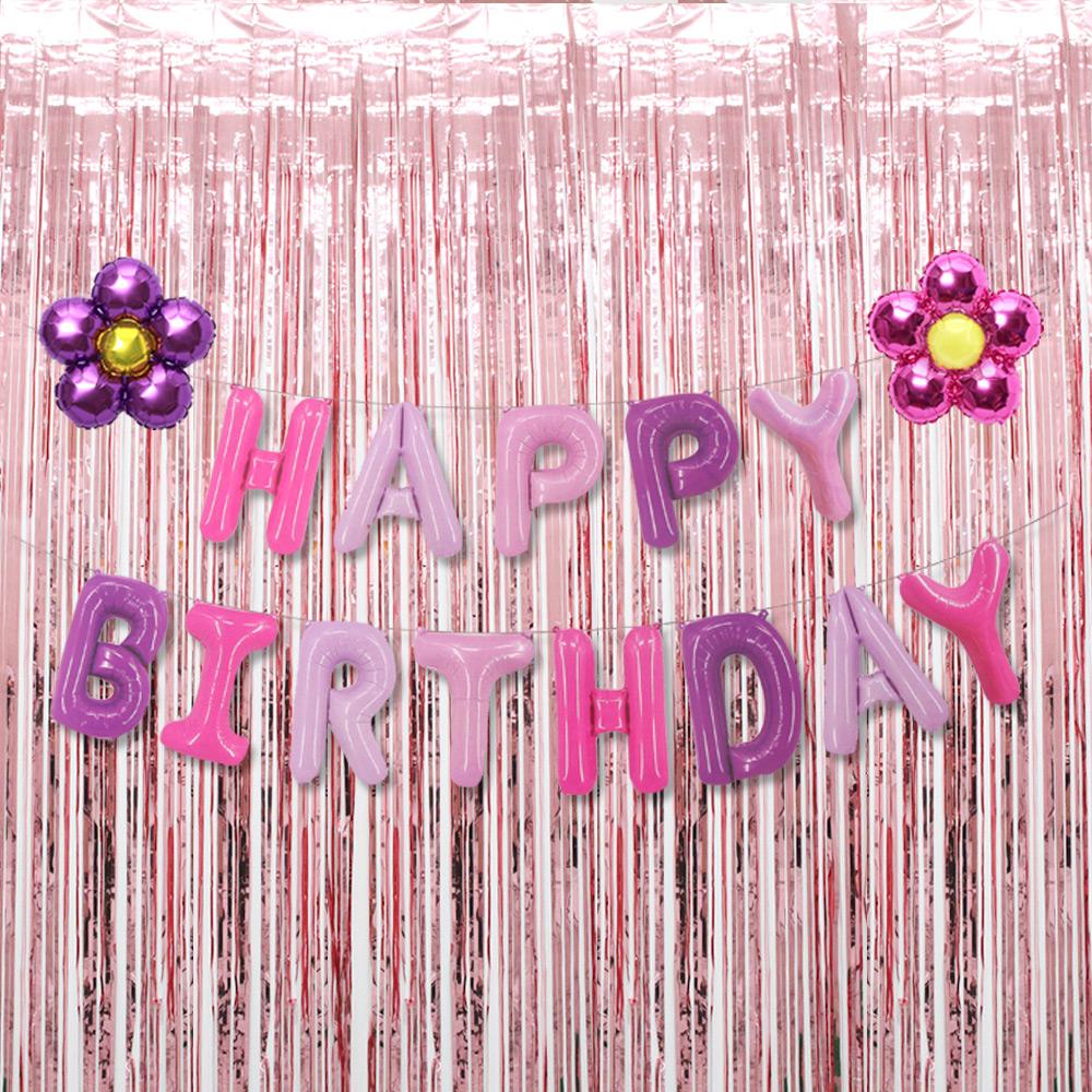 파티공구 생일 플라워 커튼 세트, 퍼플톤, 로즈골드, 1세트