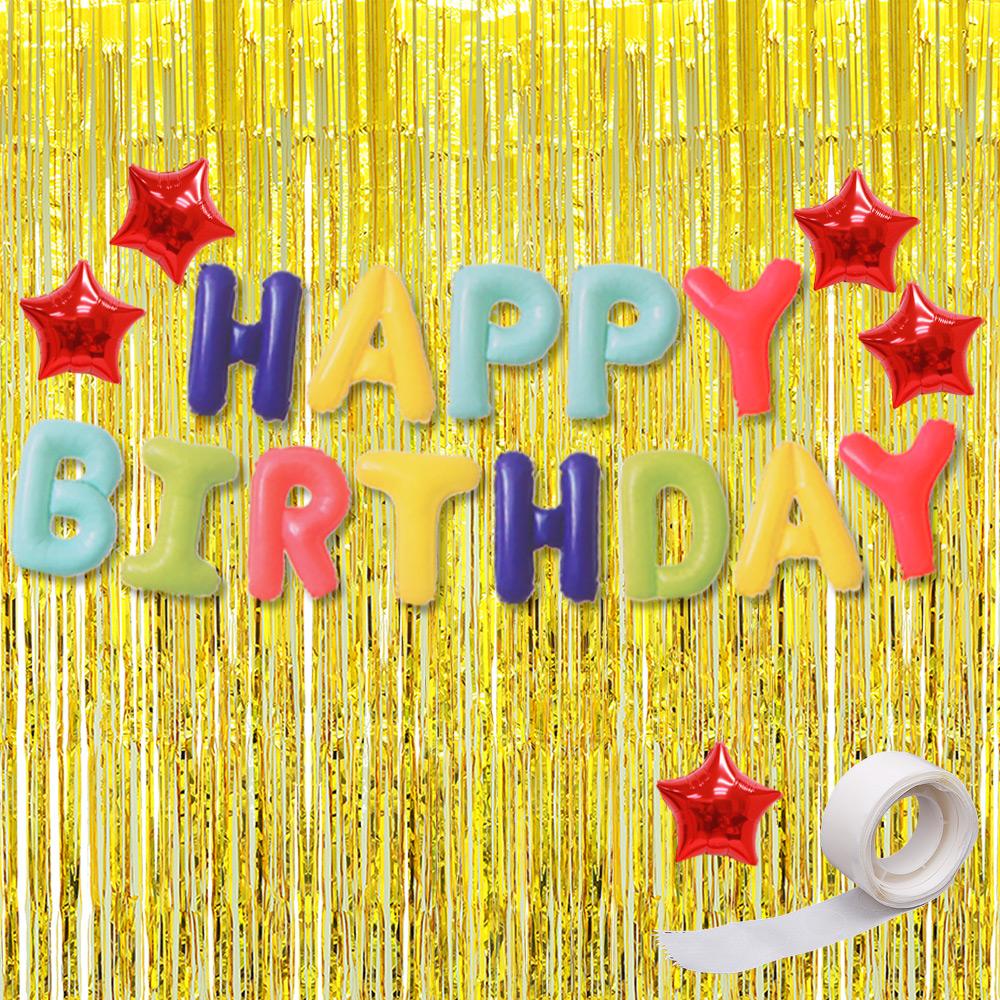 파티공구 생일 별 홀로그램 커튼 세트, 무지개, 골드, 1세트