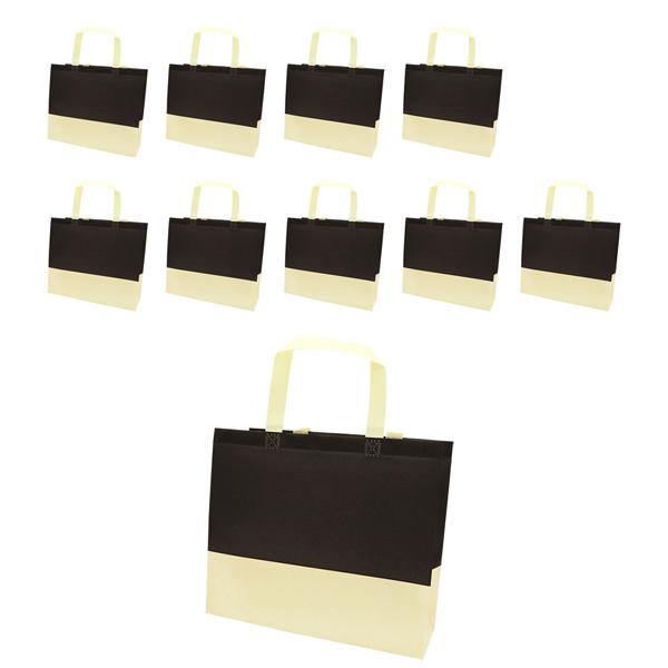 도나앤데코 피터 배색 부직포백 10p, 블랙 + 베이지